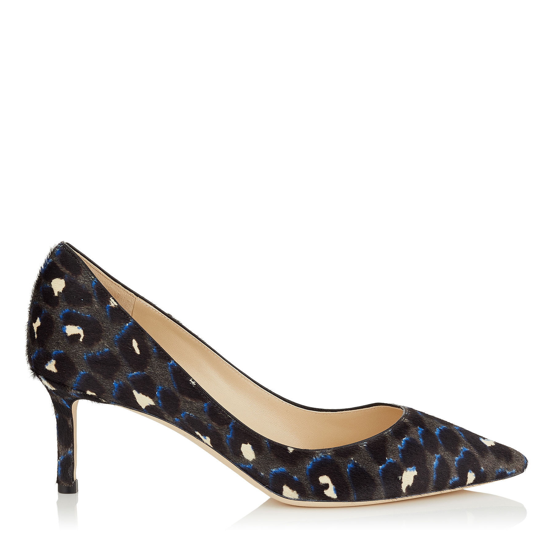 ROMY 60 Pop Blue Mix Leopard Print Pony Pointed Toe Pumps by Jimmy Choo
