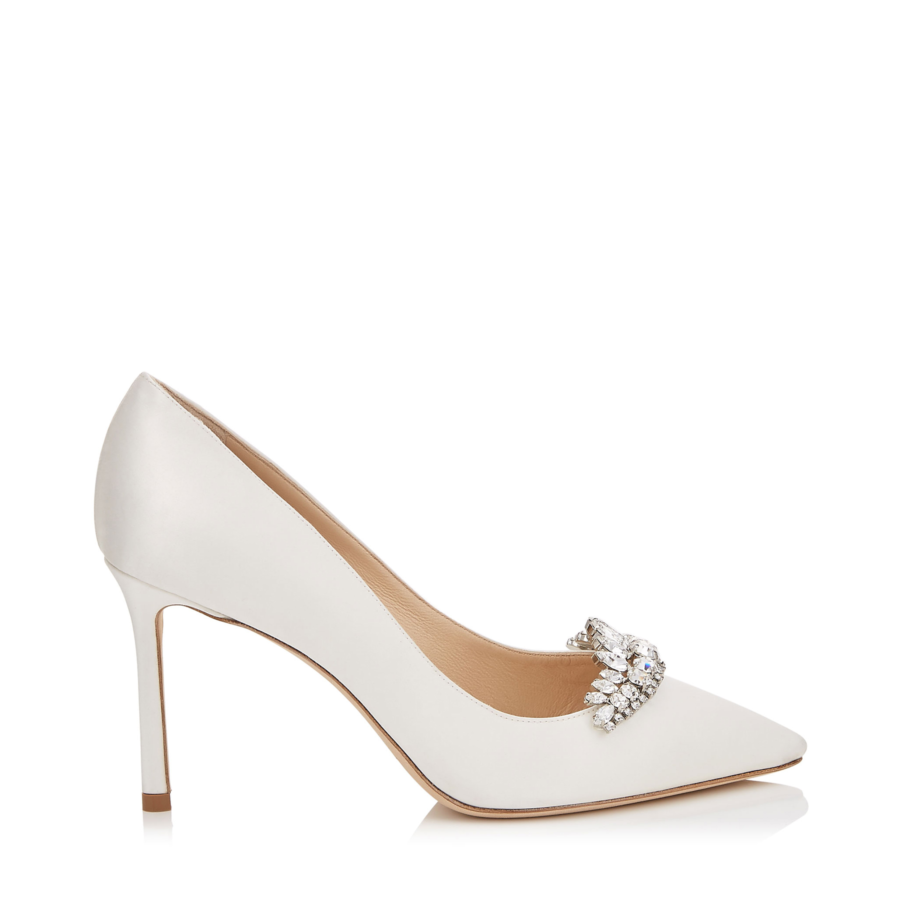 ROMY 85 Ivory Satin Pointy Toe Pumps with Crystal Tiara by Jimmy Choo