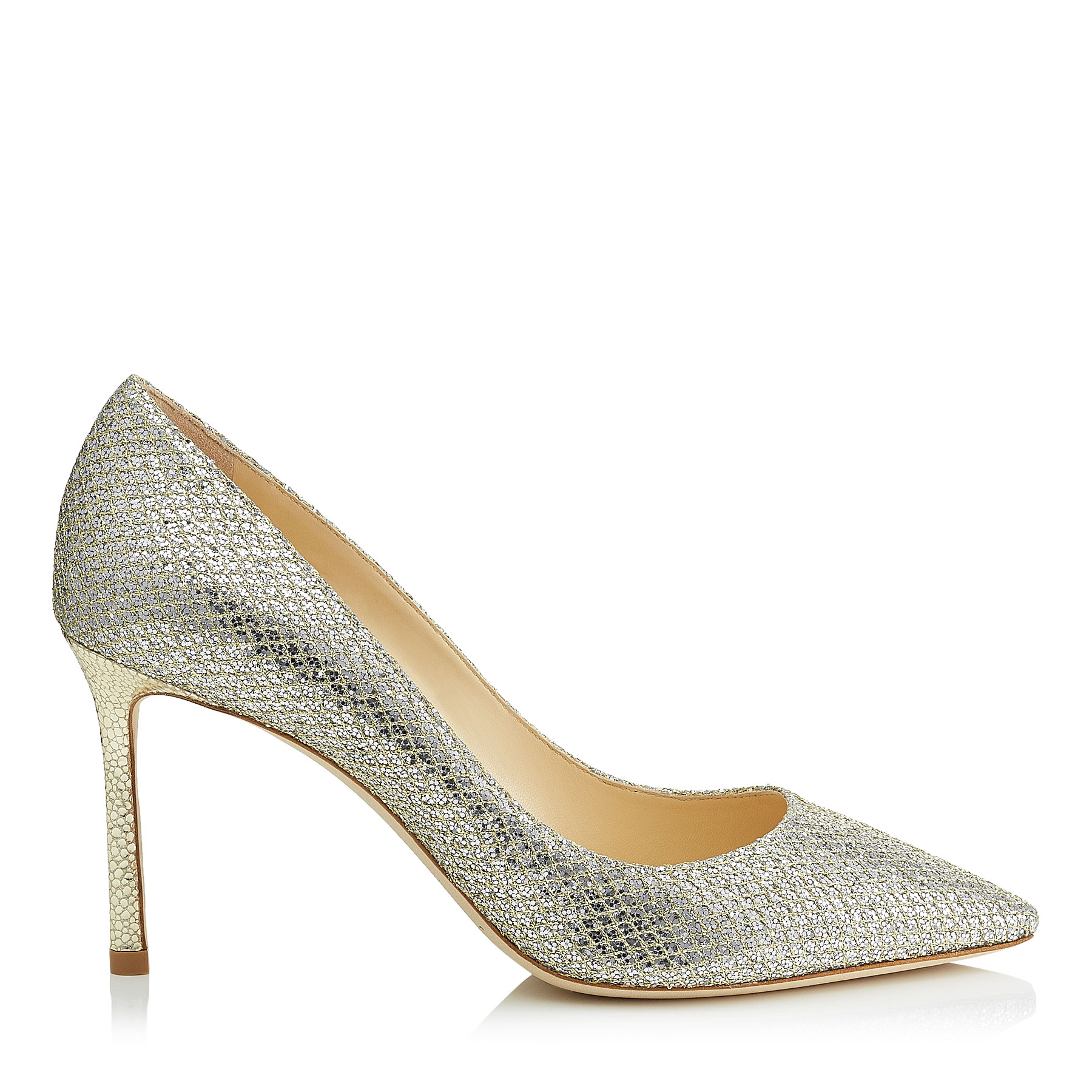 ROMY 85 Champagne Glitter Fabric Pointy Toe Pumps by Jimmy Choo