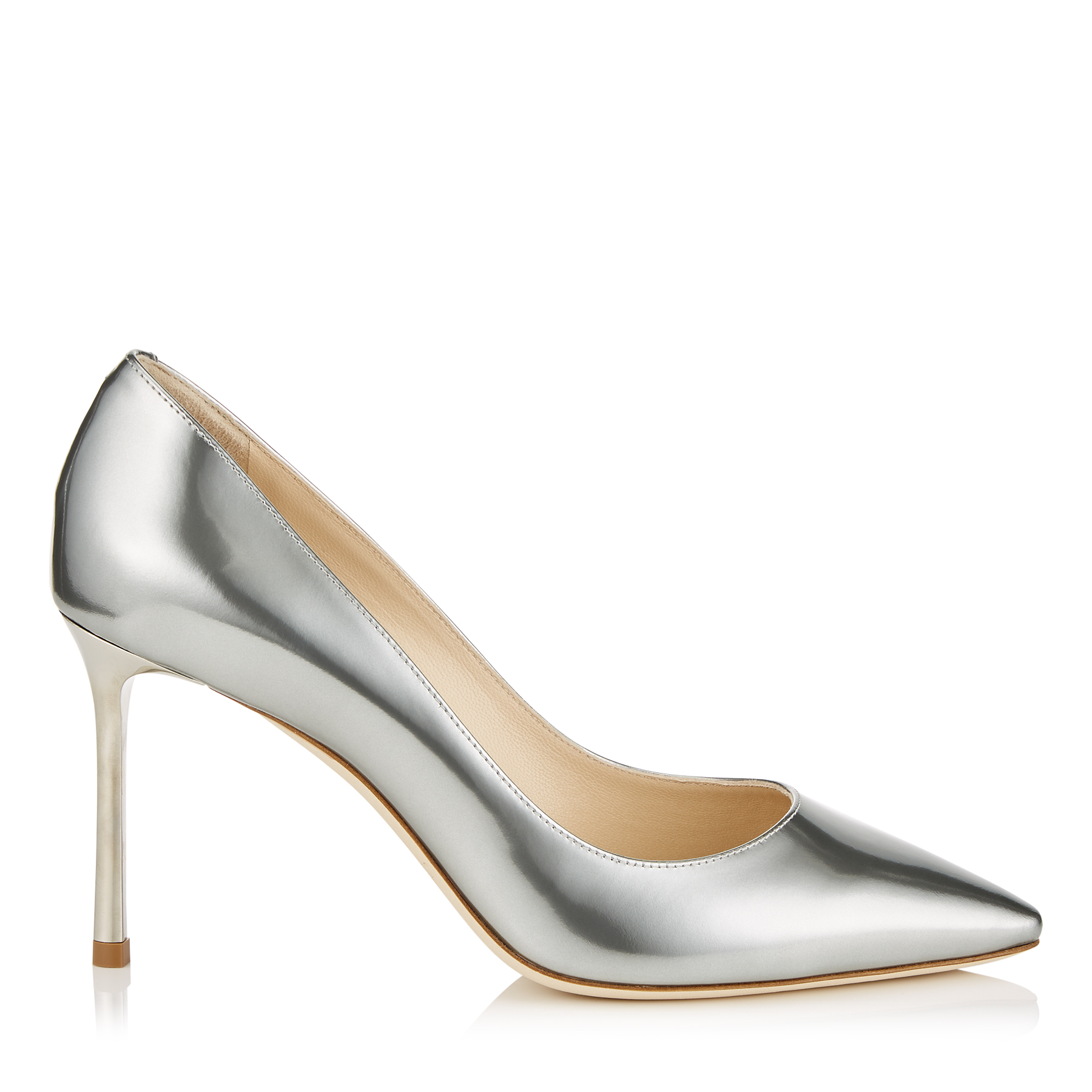 ROMY 85 Silver Liquid Mirror Leather Pointy Toe Pumps by Jimmy Choo