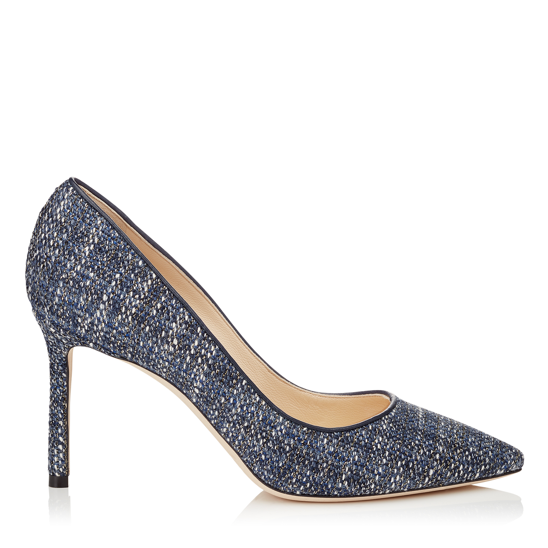 ROMY 85 Navy Metallic Tweed Pointy Toe Pumps by Jimmy Choo