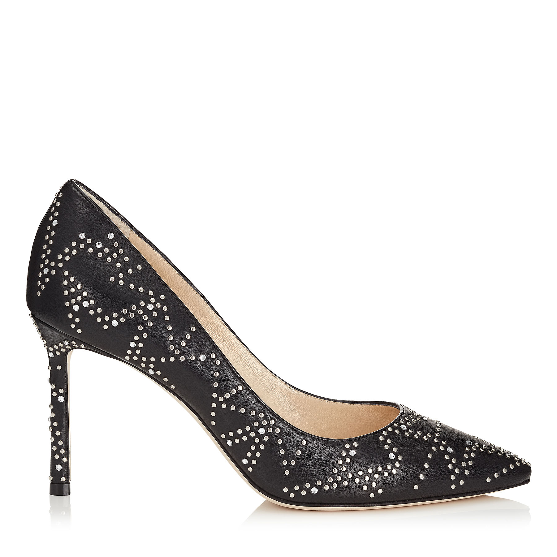 ROMY 85 Black Nappa Leather Pointy Toe Pumps with Anthracite Micro Star Studded Detail by Jimmy Choo