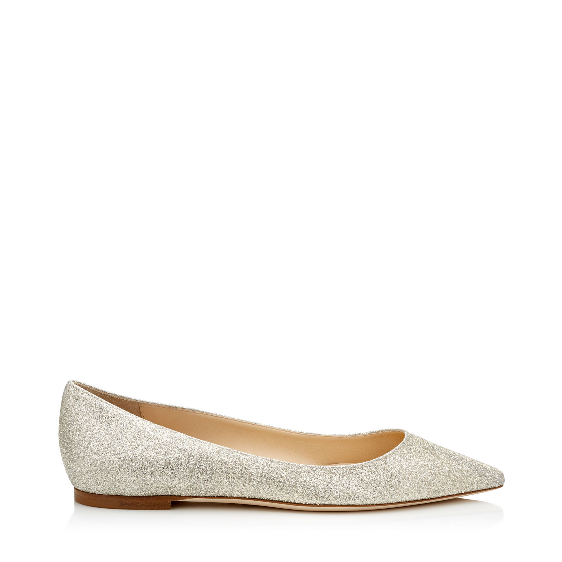 ROMY FLAT Platinum Ice Dusty Glitter Pointy Toe Flats by Jimmy Choo