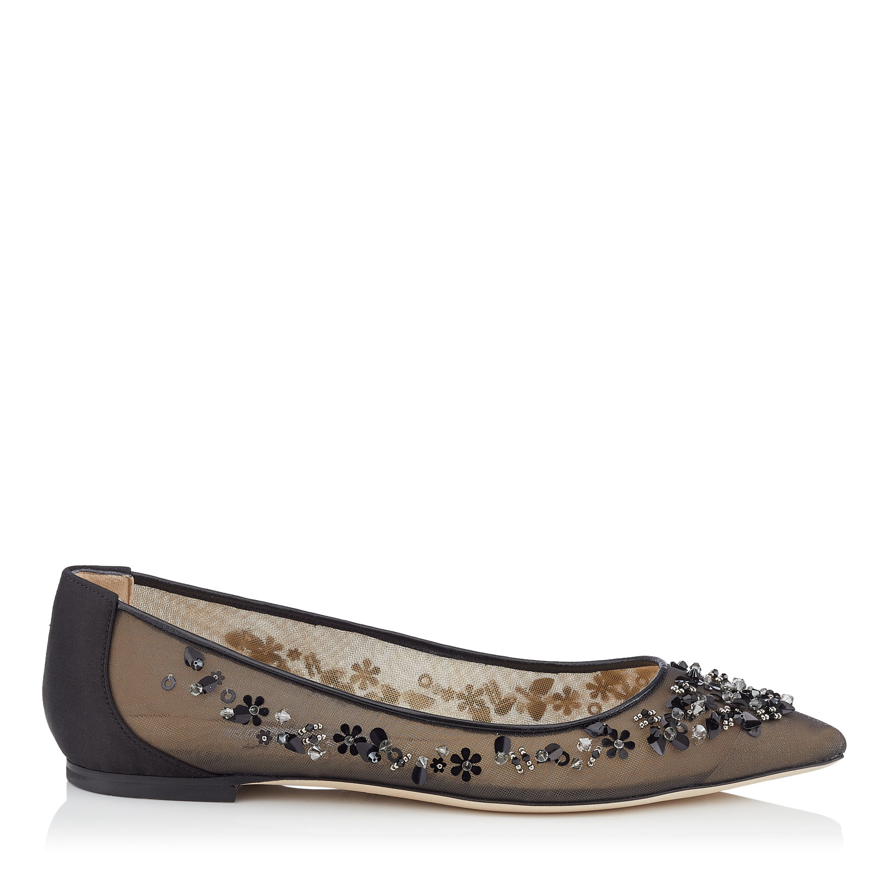 ROMY FLAT Black Mix Satin and Mesh Pointy Toe Flats with Sequin Embroidery by Jimmy Choo