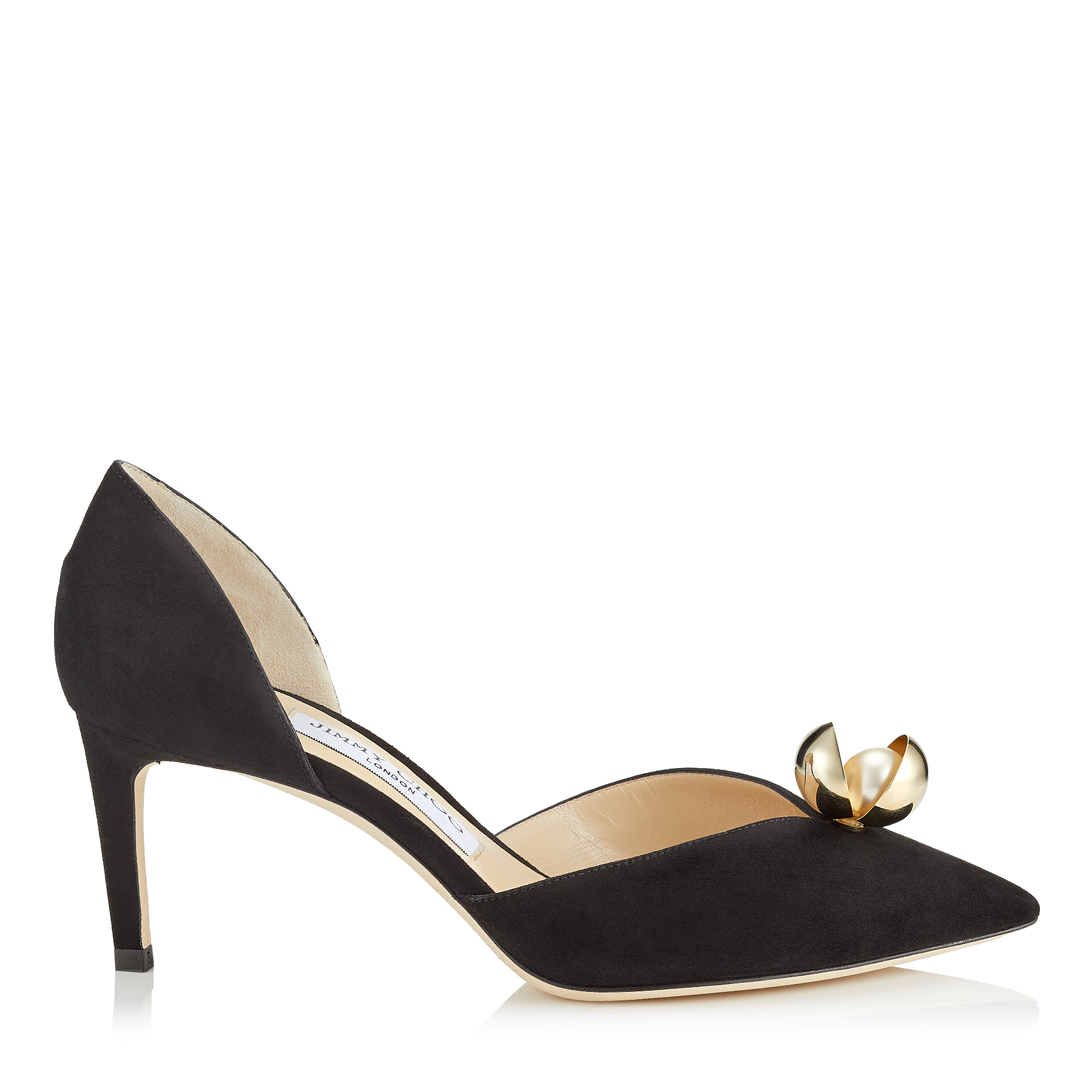 SABINE 65 Black Suede Pointy Toe Pumps with Oyster Bead Pearl by Jimmy Choo