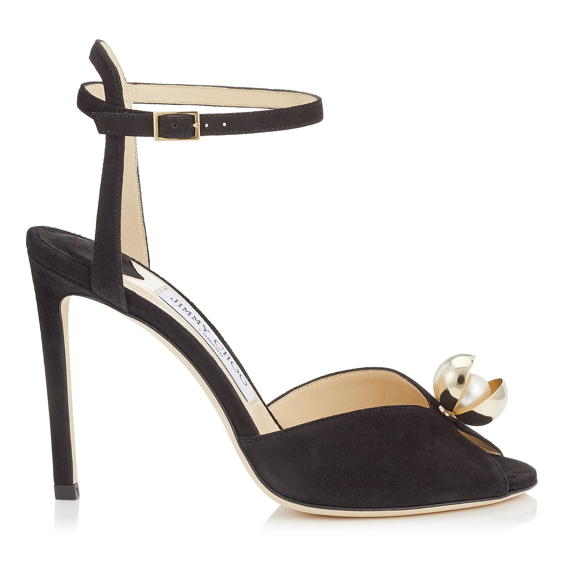 SACORA 100 Black Suede Sandals with Oyster Bead Pearl by Jimmy Choo