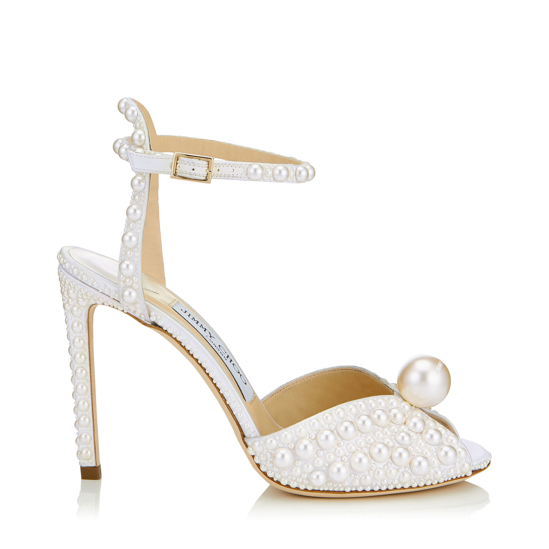 SACORA 100 White Satin Sandals with All Over Pearls by Jimmy Choo