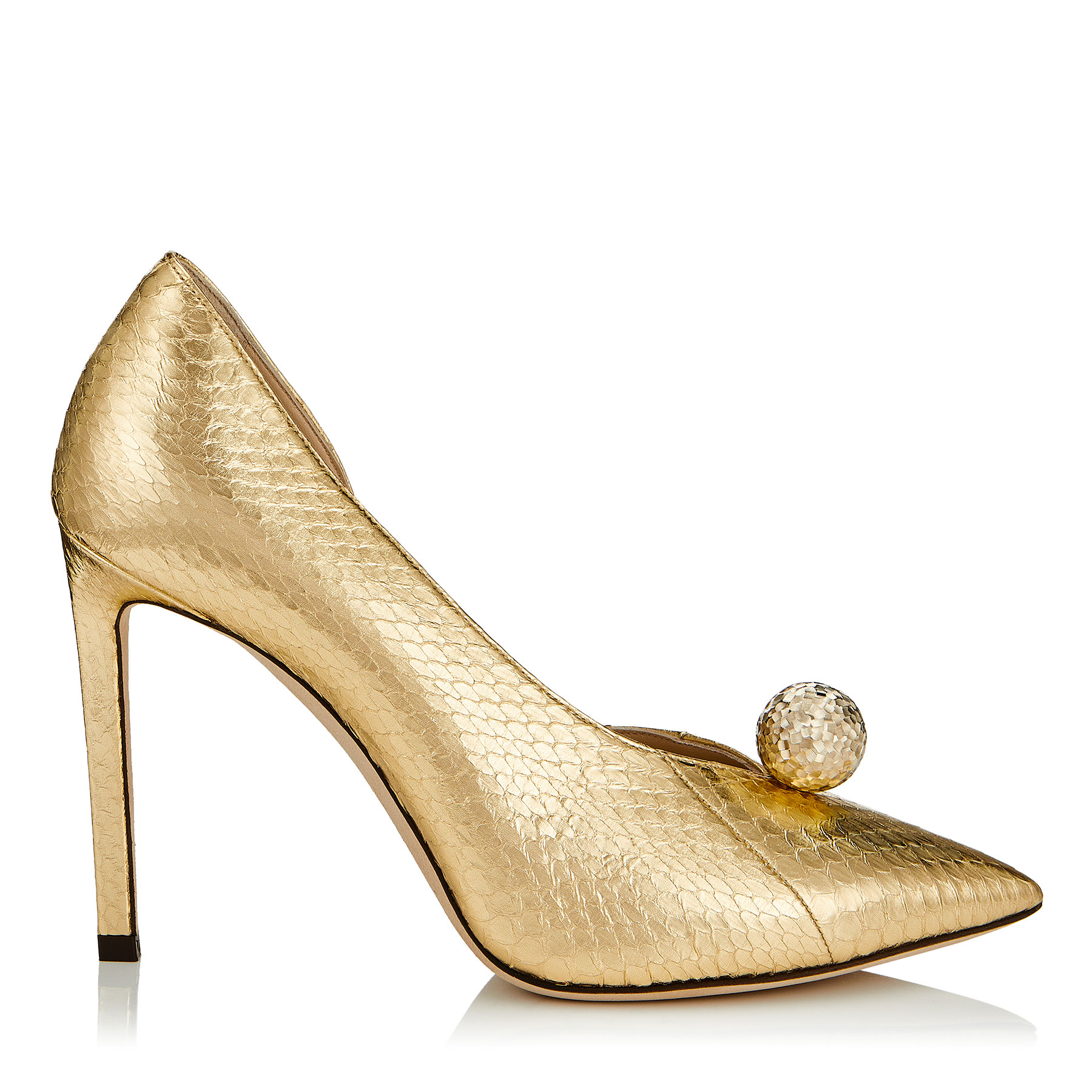 SADIRA 100 Gold Metallic Elaphe Pointy Toe Pumps with Diamond Cut Pearl by Jimmy Choo