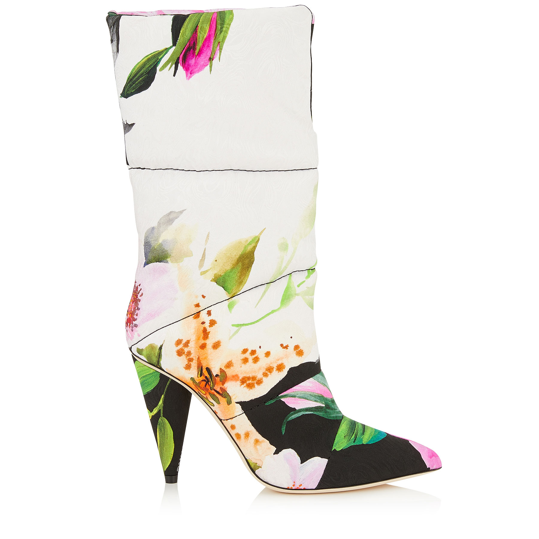 SARA 100 Floral Padded Printed Moire Mid High Boots by Jimmy Choo