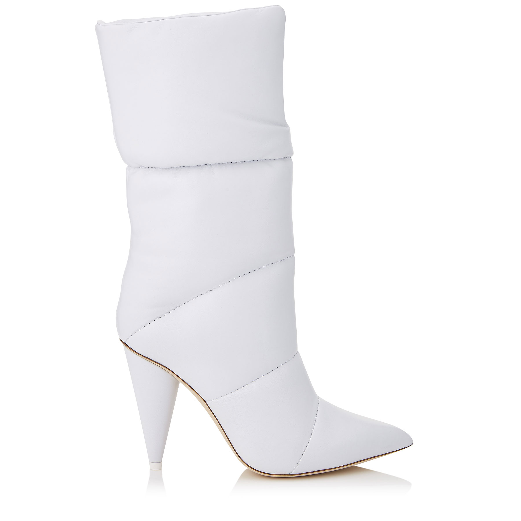 SARA 100 Optic White Padded Nappa Leather Mid High Boots by Jimmy Choo