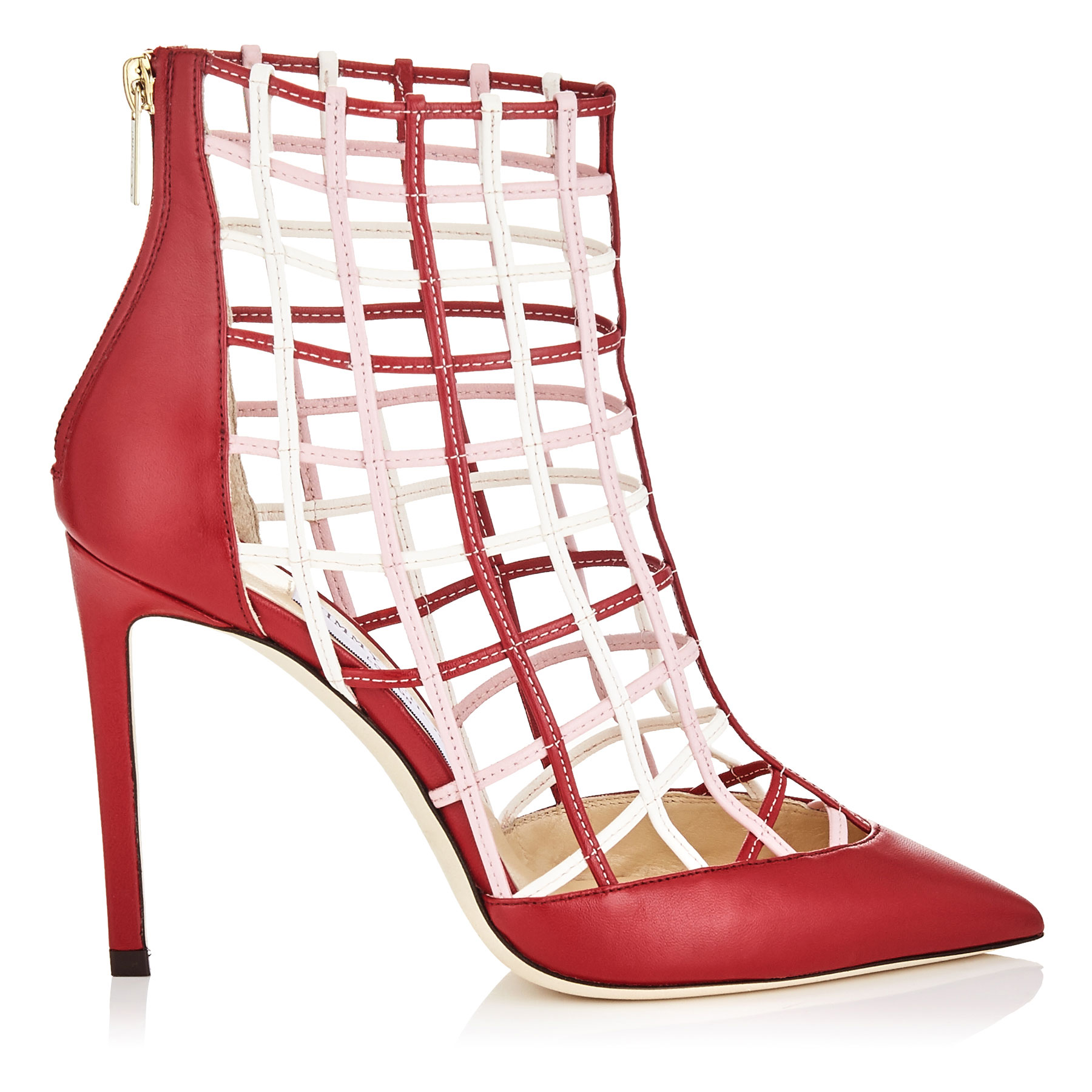 SHELDON 100 Red Nappa Leather Booties with Rosewater and Chalk Caged Detailing by Jimmy Choo