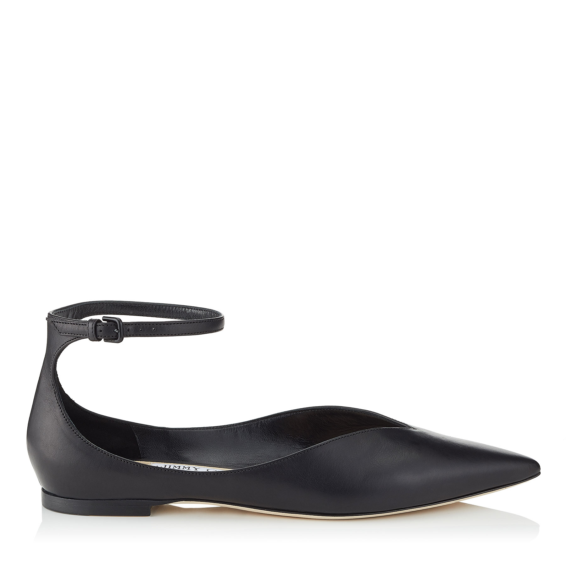 SONIA FLAT Black Calf Leather Pointy Toe Flats by Jimmy Choo