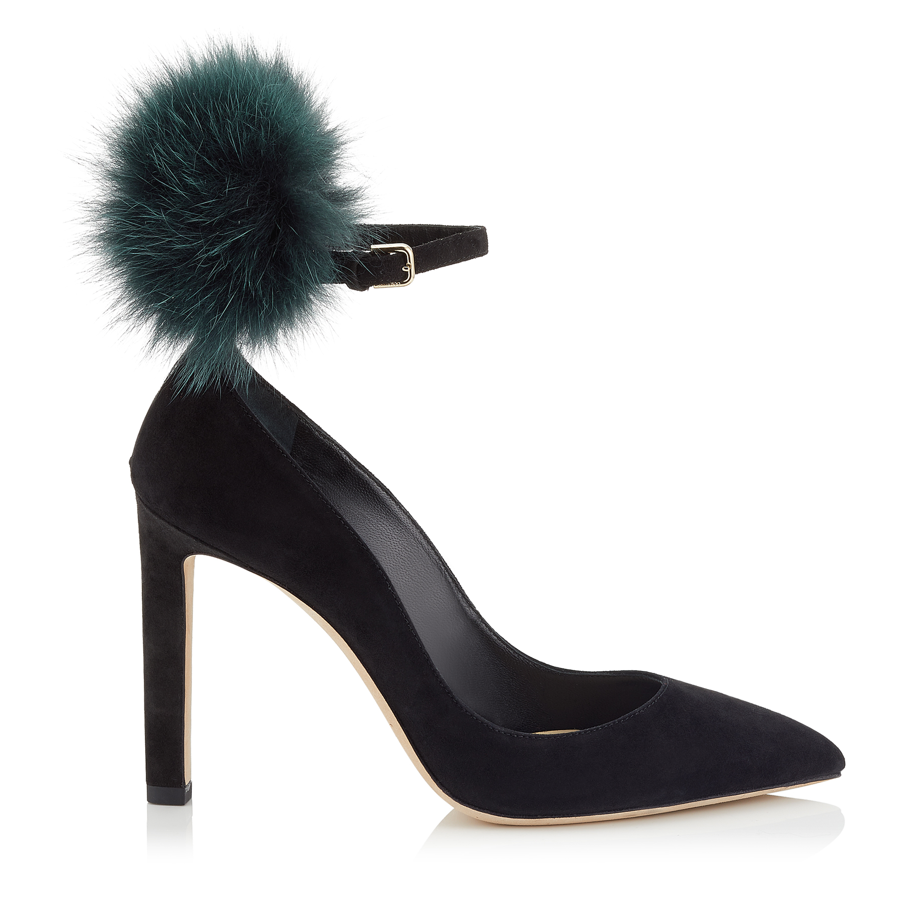 SOUTH 100 Black Suede Pumps with Bottle Green Fox Fur Pom Poms by Jimmy Choo