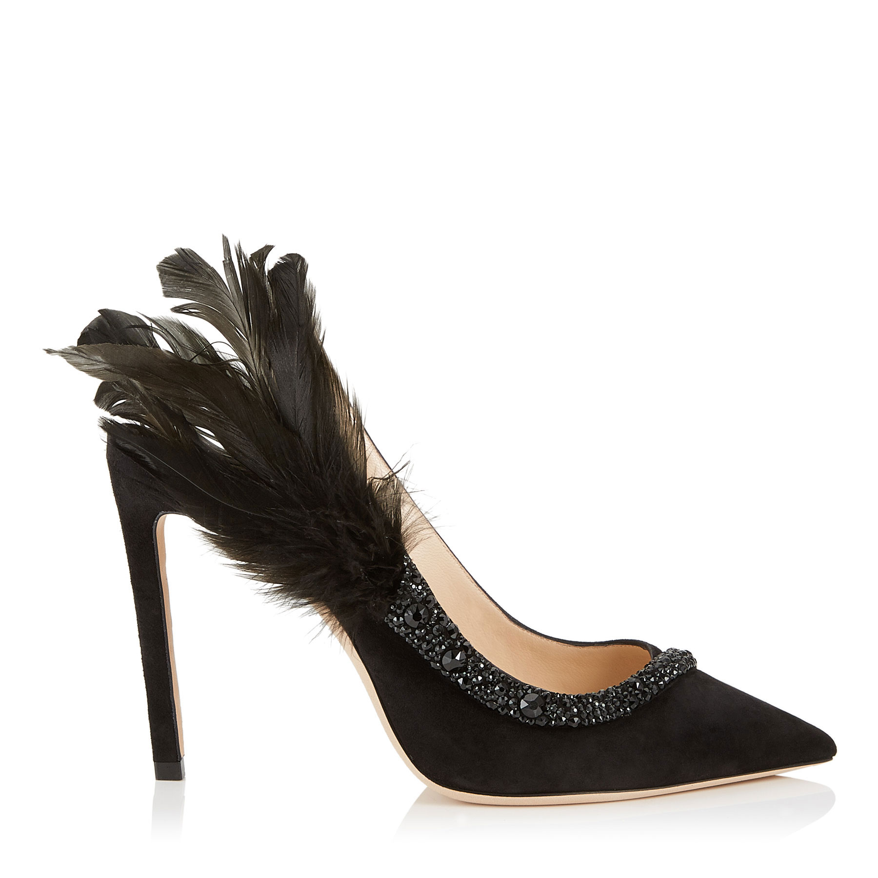 TACEY 100 Black Suede Pointy Toe Pumps with Crystals and Feathers by Jimmy Choo