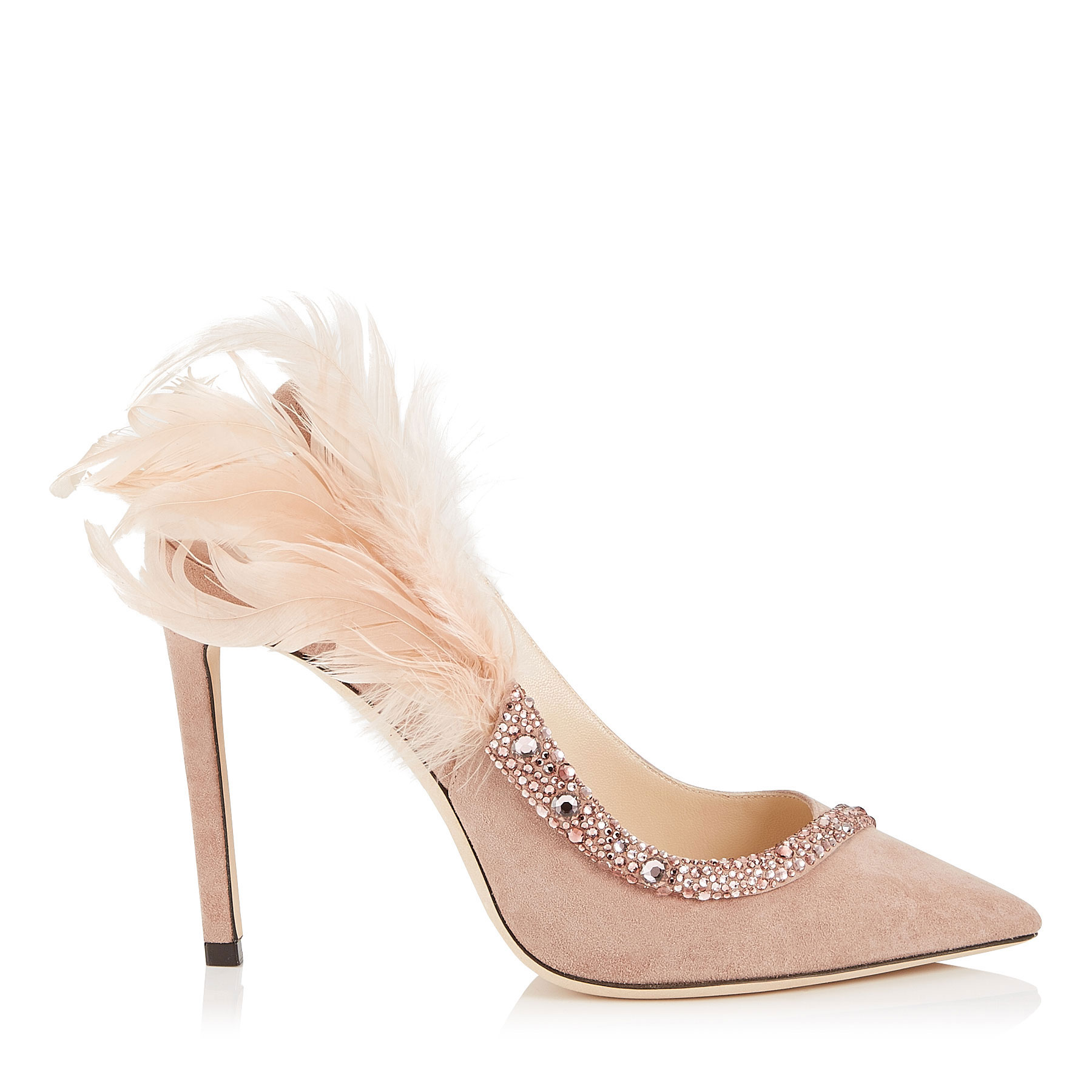 TACEY 100 Ballet Pink Suede Pointy Toe Pumps with Crystals and Feathers by Jimmy Choo