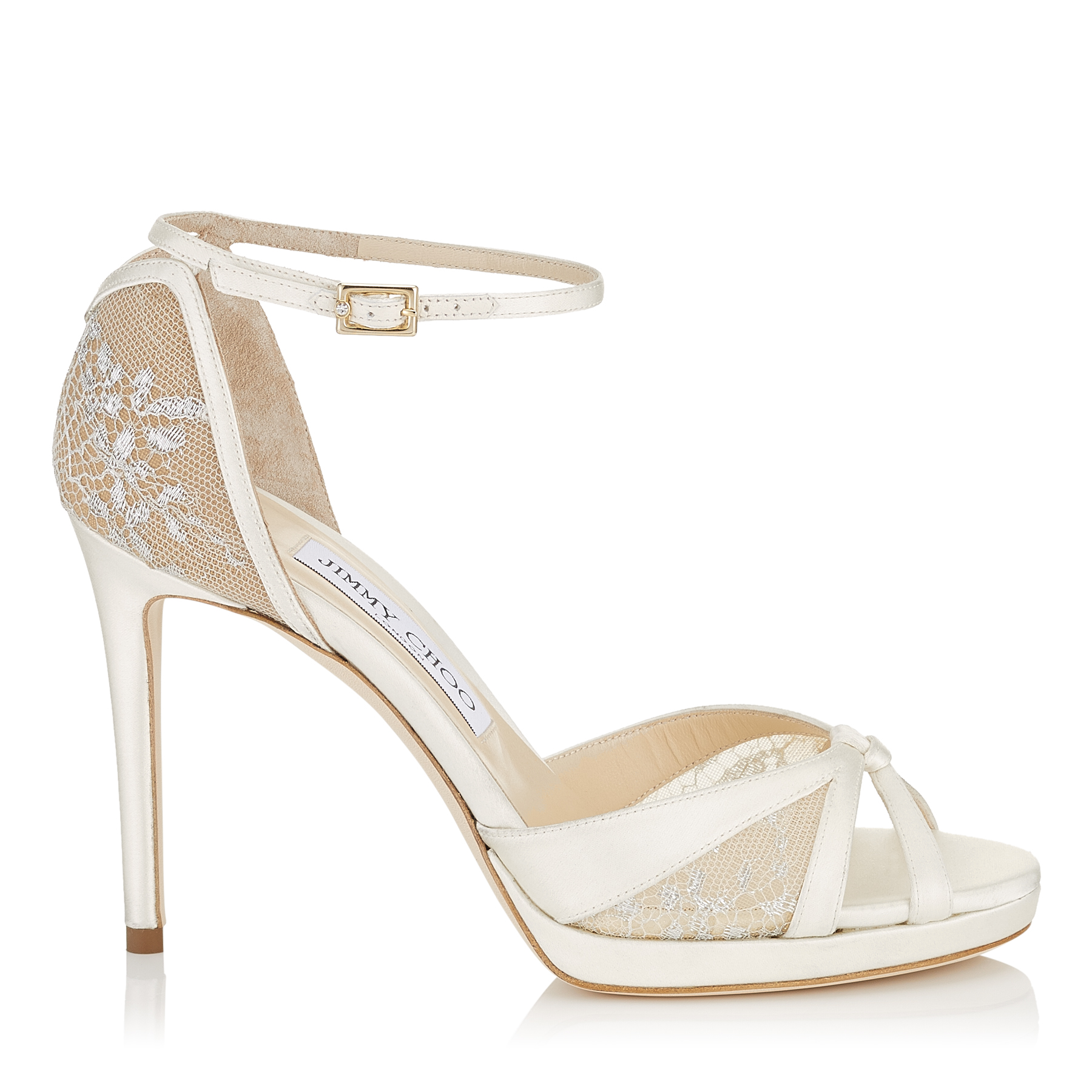 TALIA 100 Ivory Satin and White Lace Sandals by Jimmy Choo