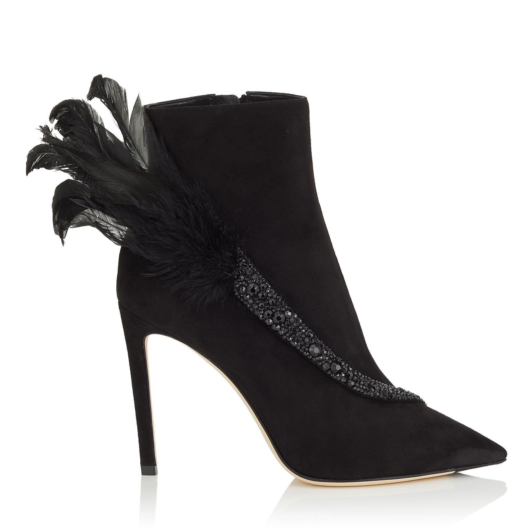 TANYA 100 Black Suede Booties with Crystals and Feathers by Jimmy Choo