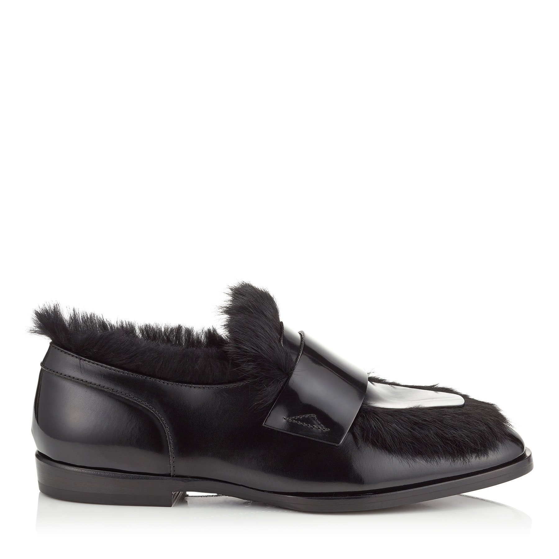TEDI/F Black Brushed Off Leather Loafers with Rabbit Fur by Jimmy Choo