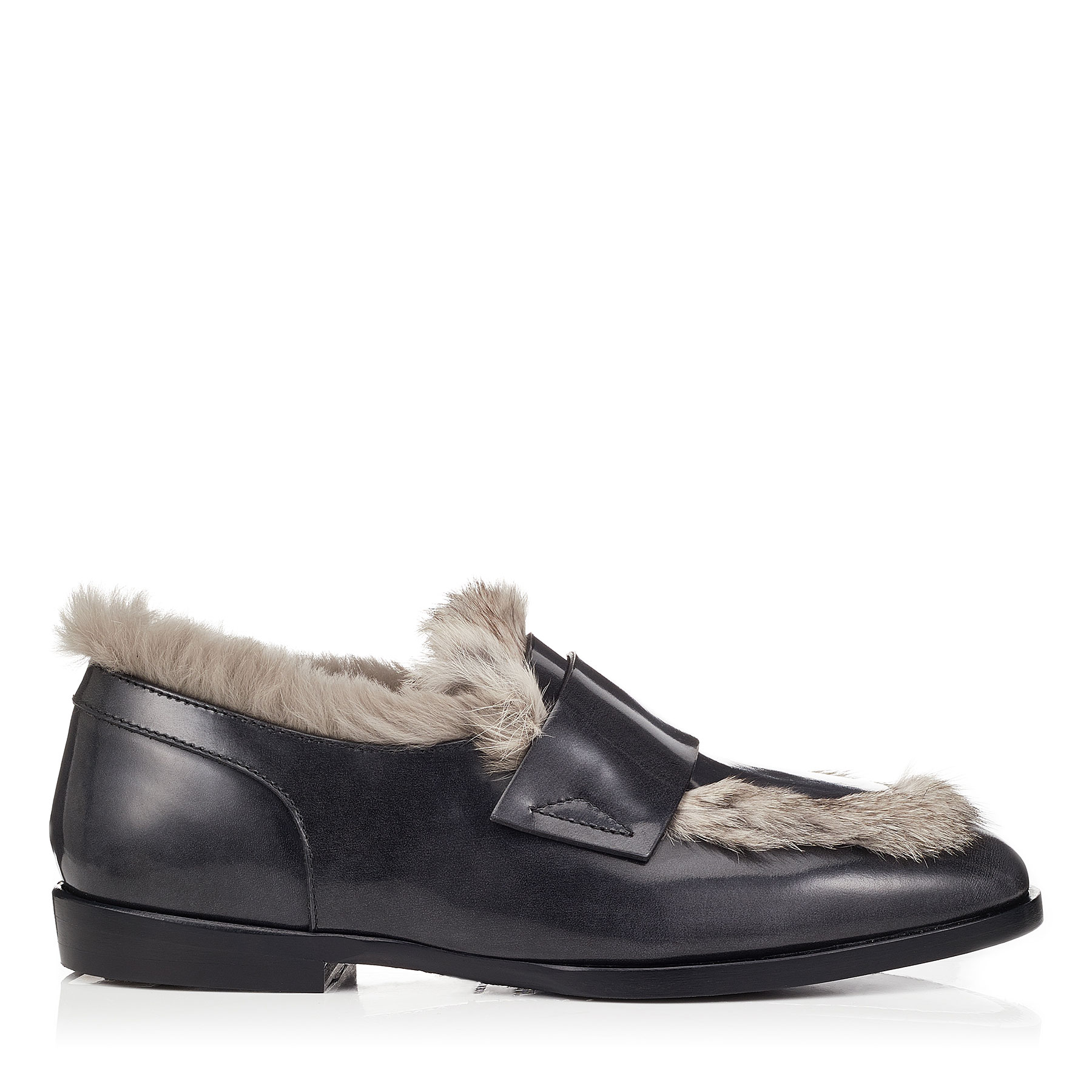 TEDI/F Slate Brushed Off Leather Loafers with Rabbit Fur by Jimmy Choo