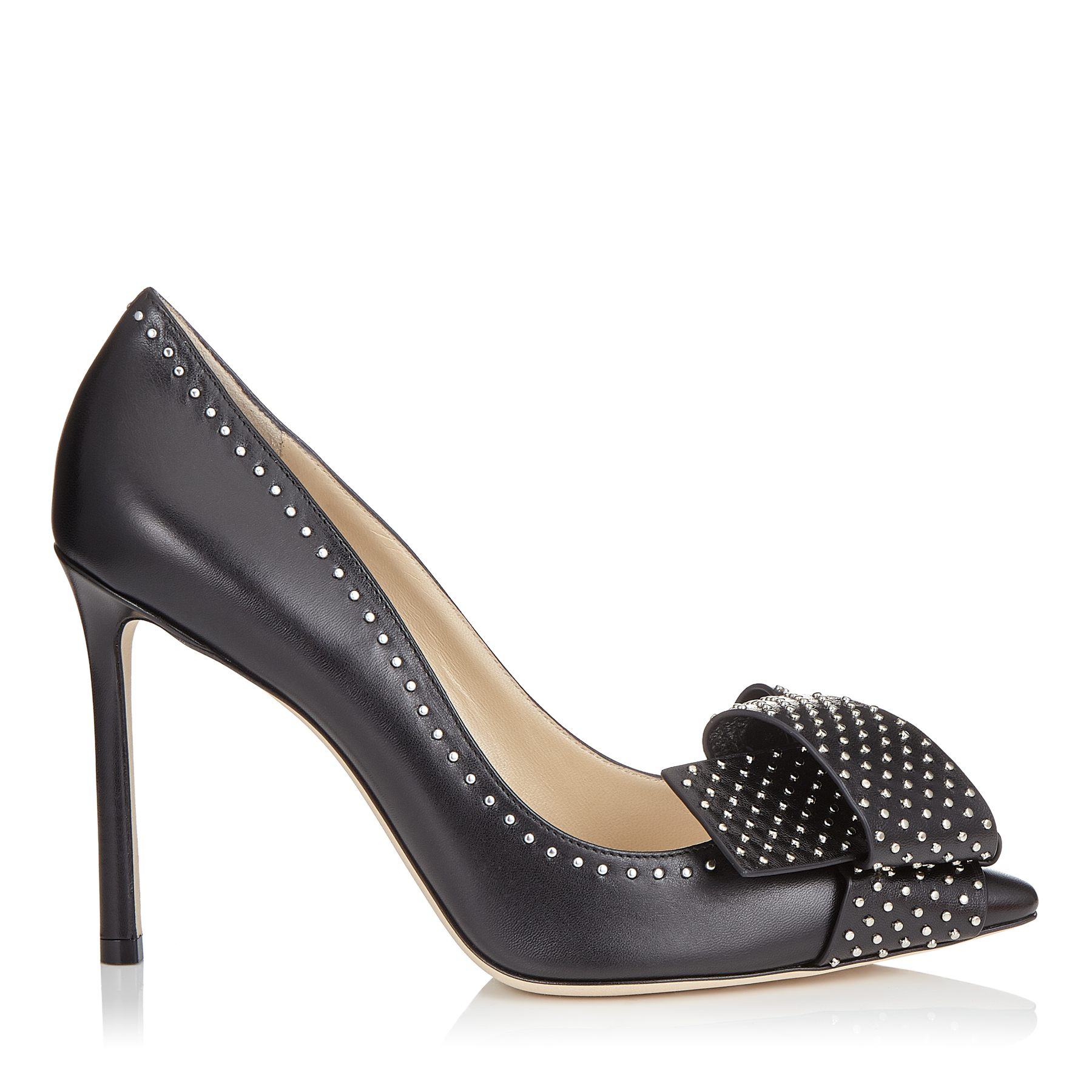 TEGAN 100 Black Kid Leather Pointy Toe Pumps with Studded Bow Detailing by Jimmy Choo