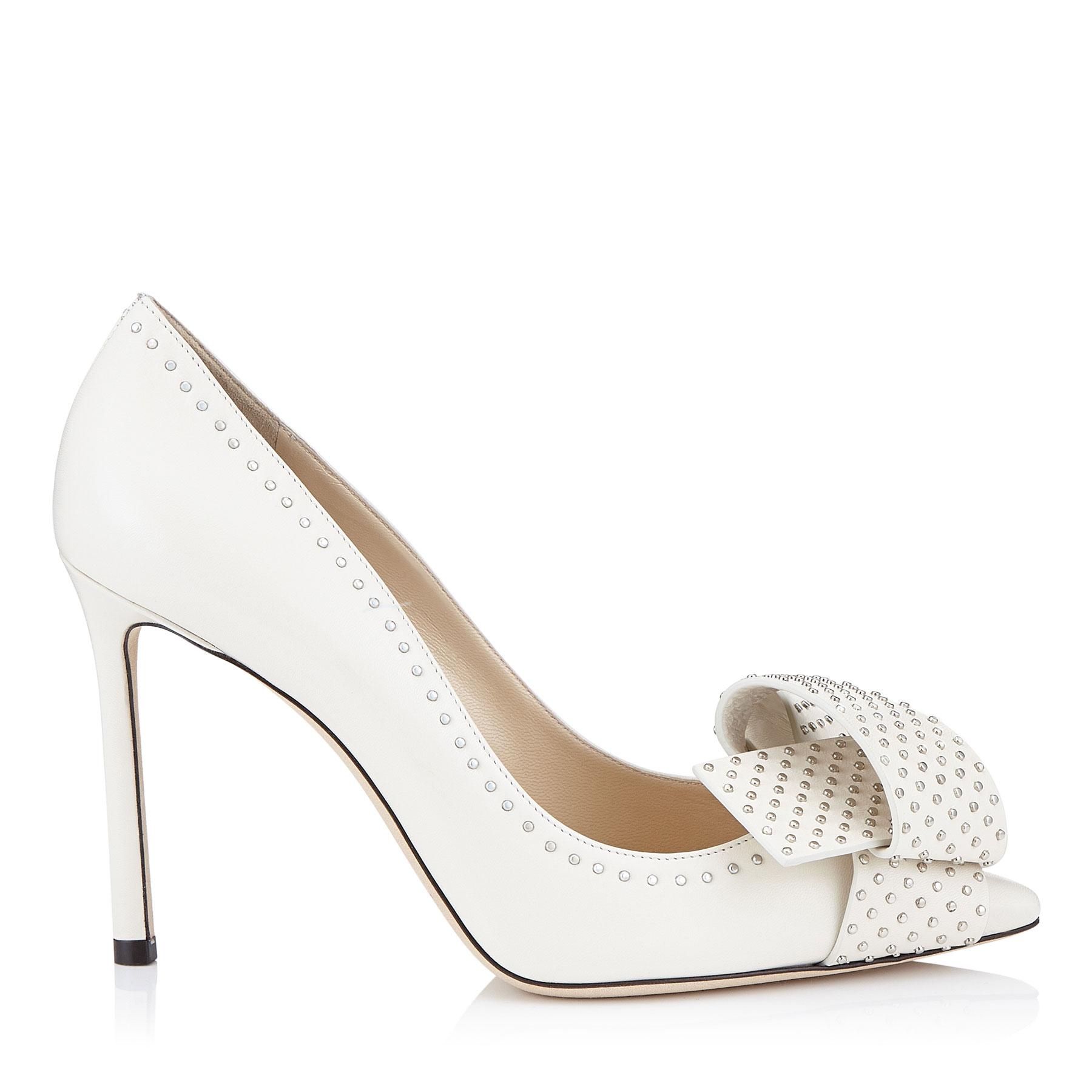 TEGAN 100 Chalk Kid Leather Pointy Toe Pumps with Studded Bow Detailing by Jimmy Choo