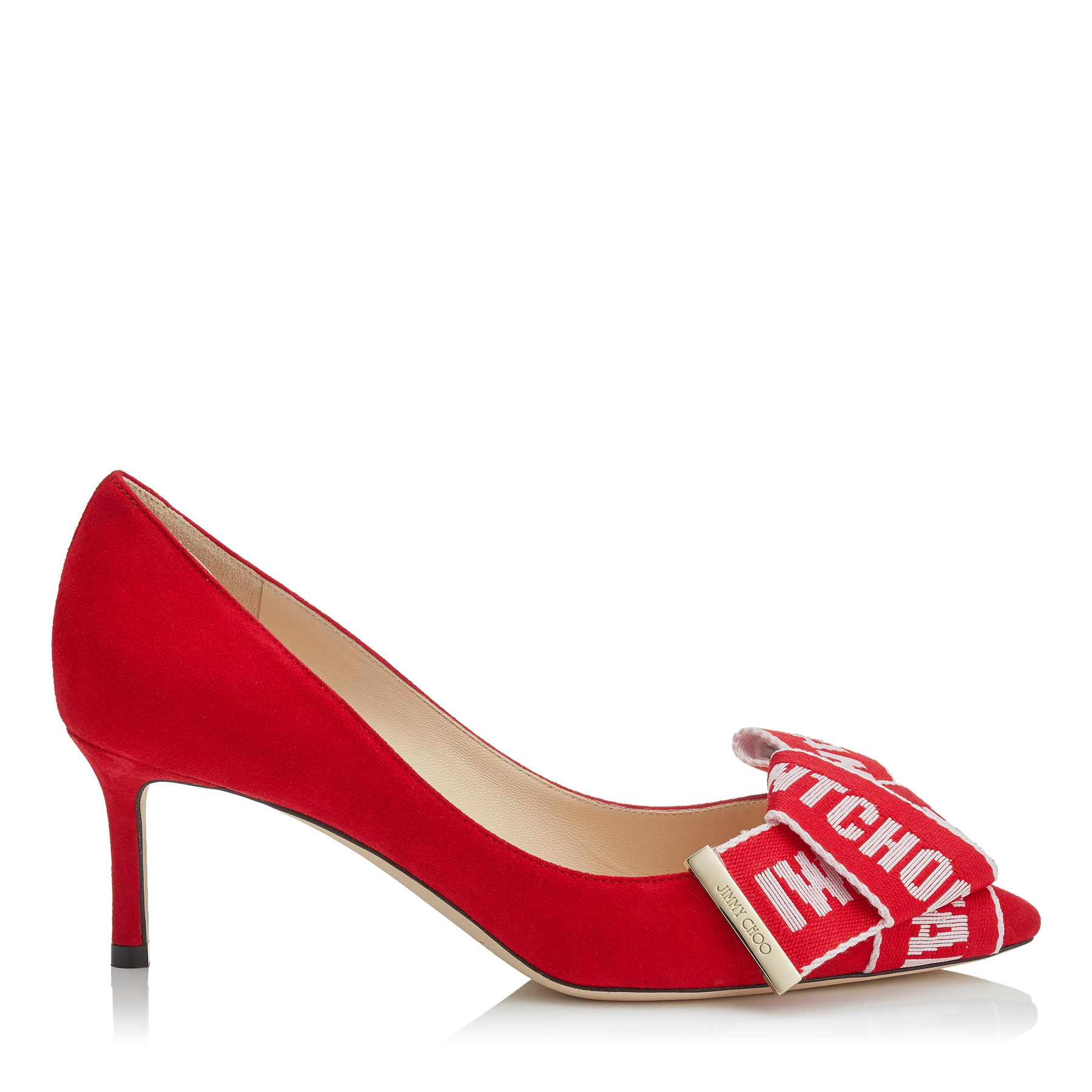 Photo of TEGAN 60 Red Suede Pointy Toe Pumps with Rosewater Logo Tape Bow Detailing by Jimmy Choo womens shoes - buy Jimmy Choo footwear online
