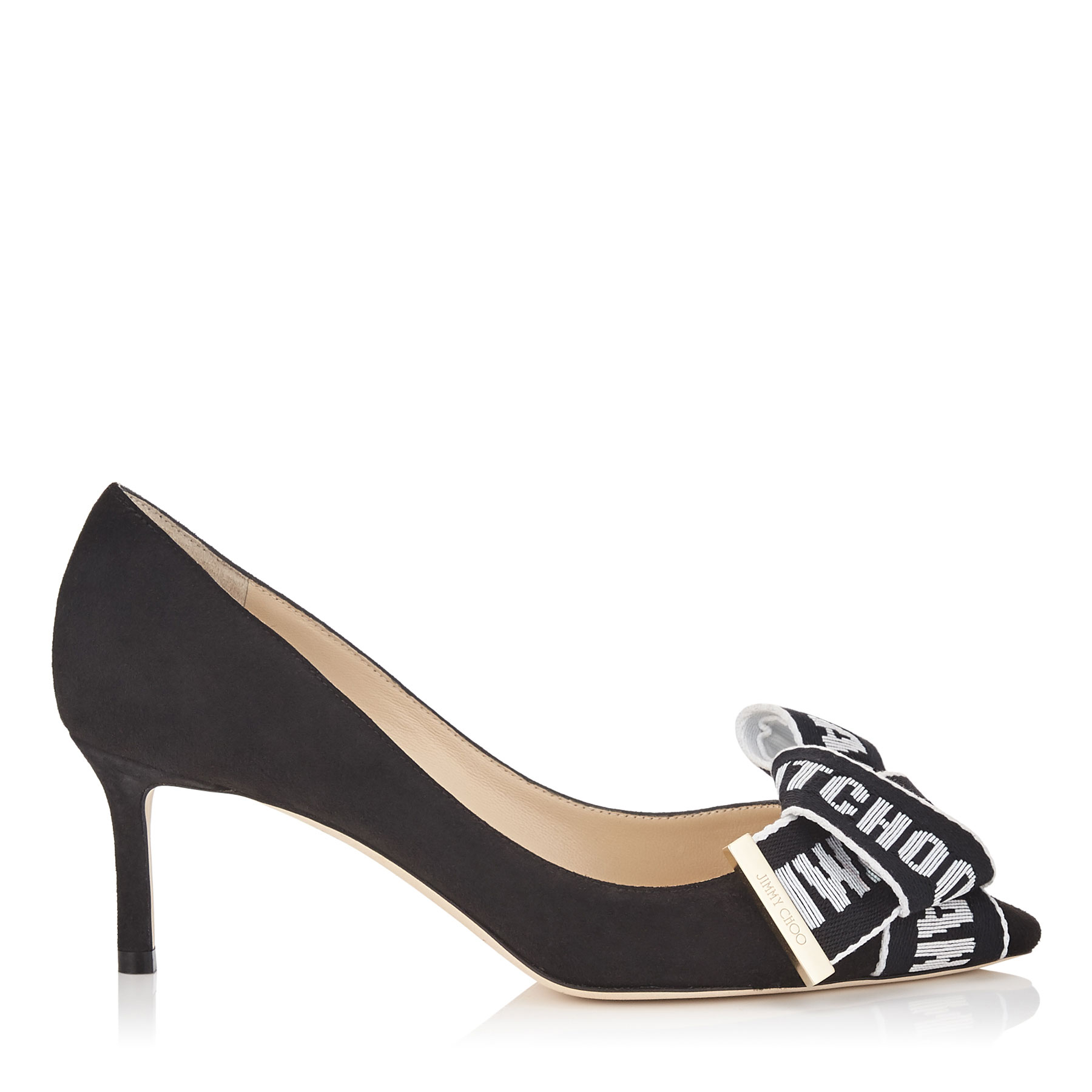 TEGAN 60 Black Suede Pointy Toe Pumps with Logo Tape Bow Detailing by Jimmy Choo