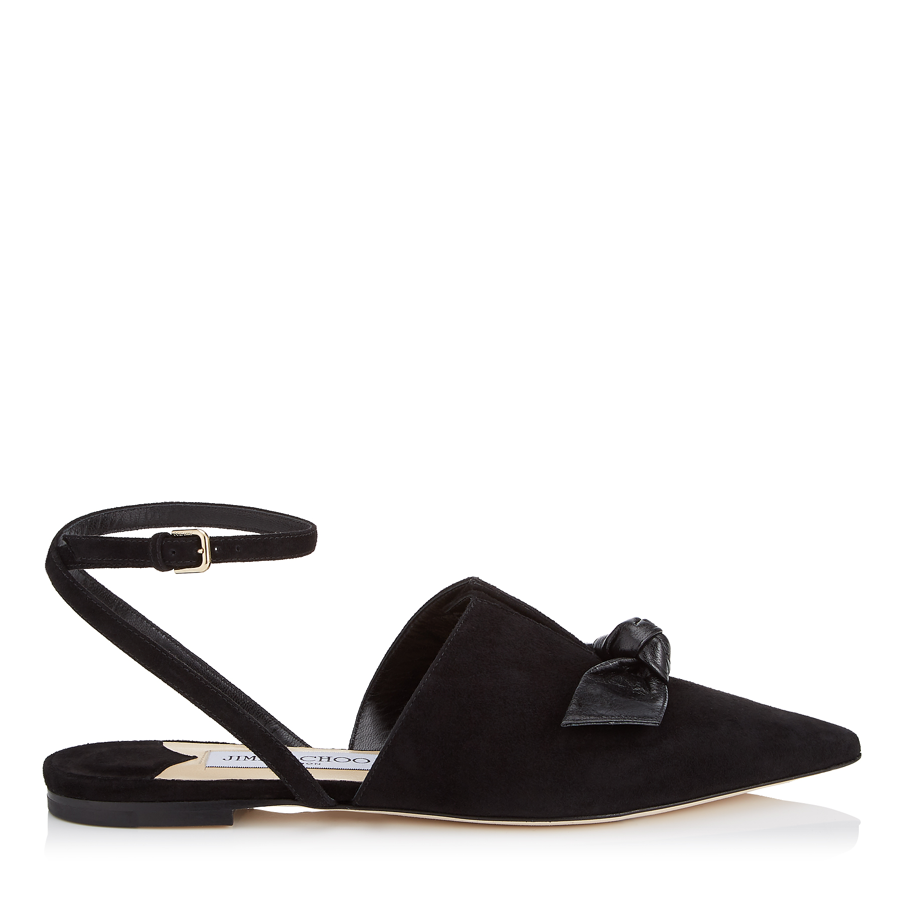 TEMPLE FLAT Black Suede and Kid Leather Pointy Toe Flats by Jimmy Choo