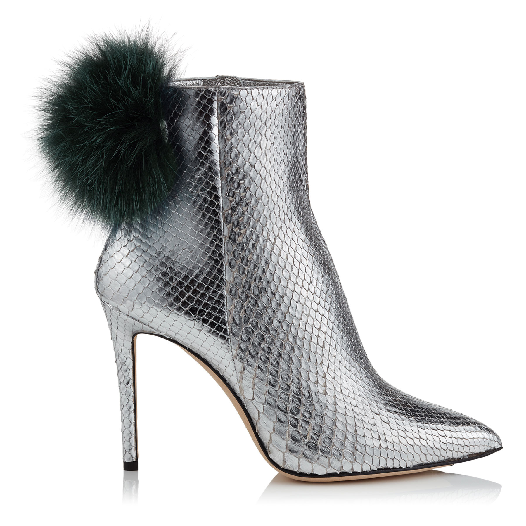 TESLER 100 Silver Python Booties with Bottle Green Fox Fur Pom Poms by Jimmy Choo