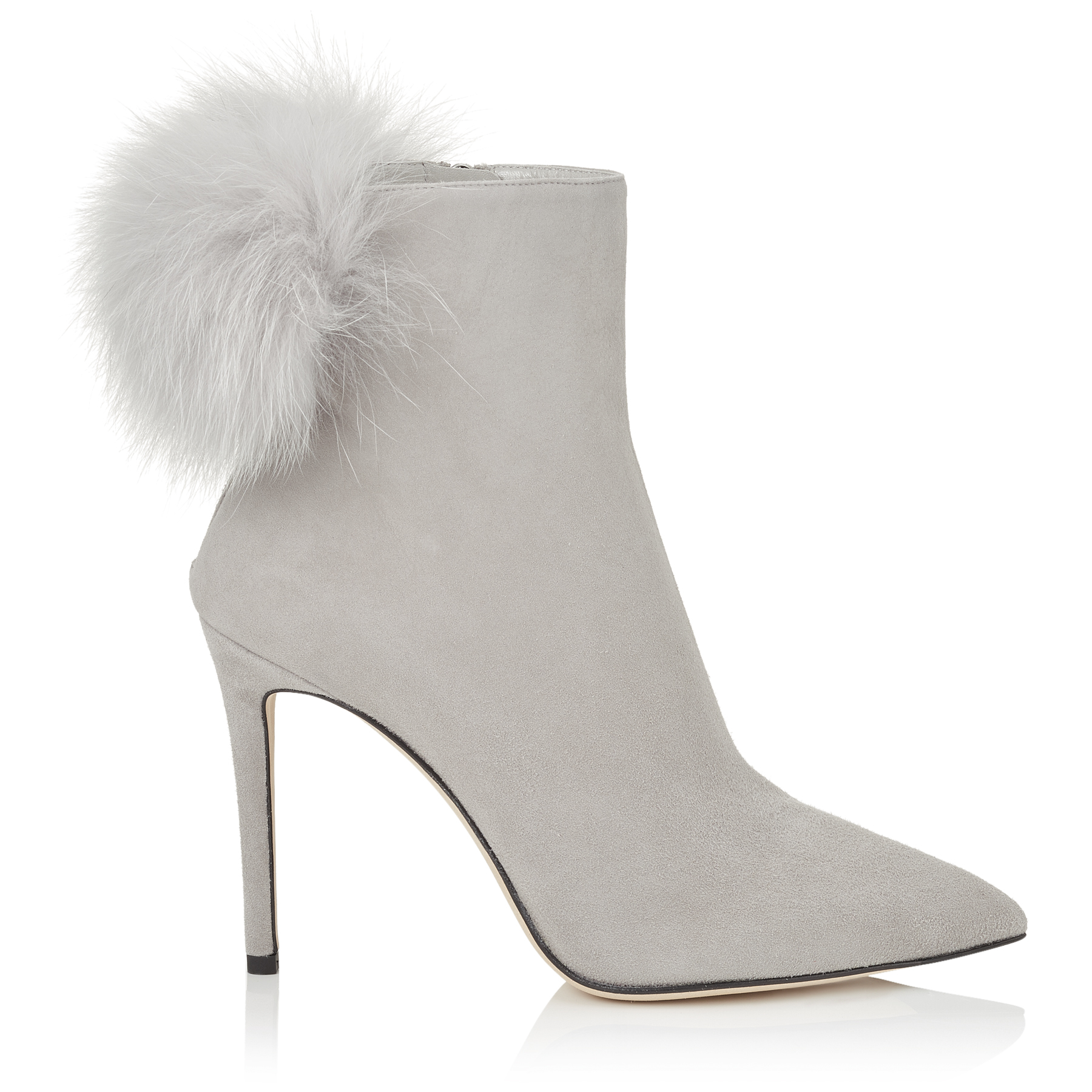TESLER 100 Moonstone Suede Booties with White Fox Fur Pom Poms by Jimmy Choo