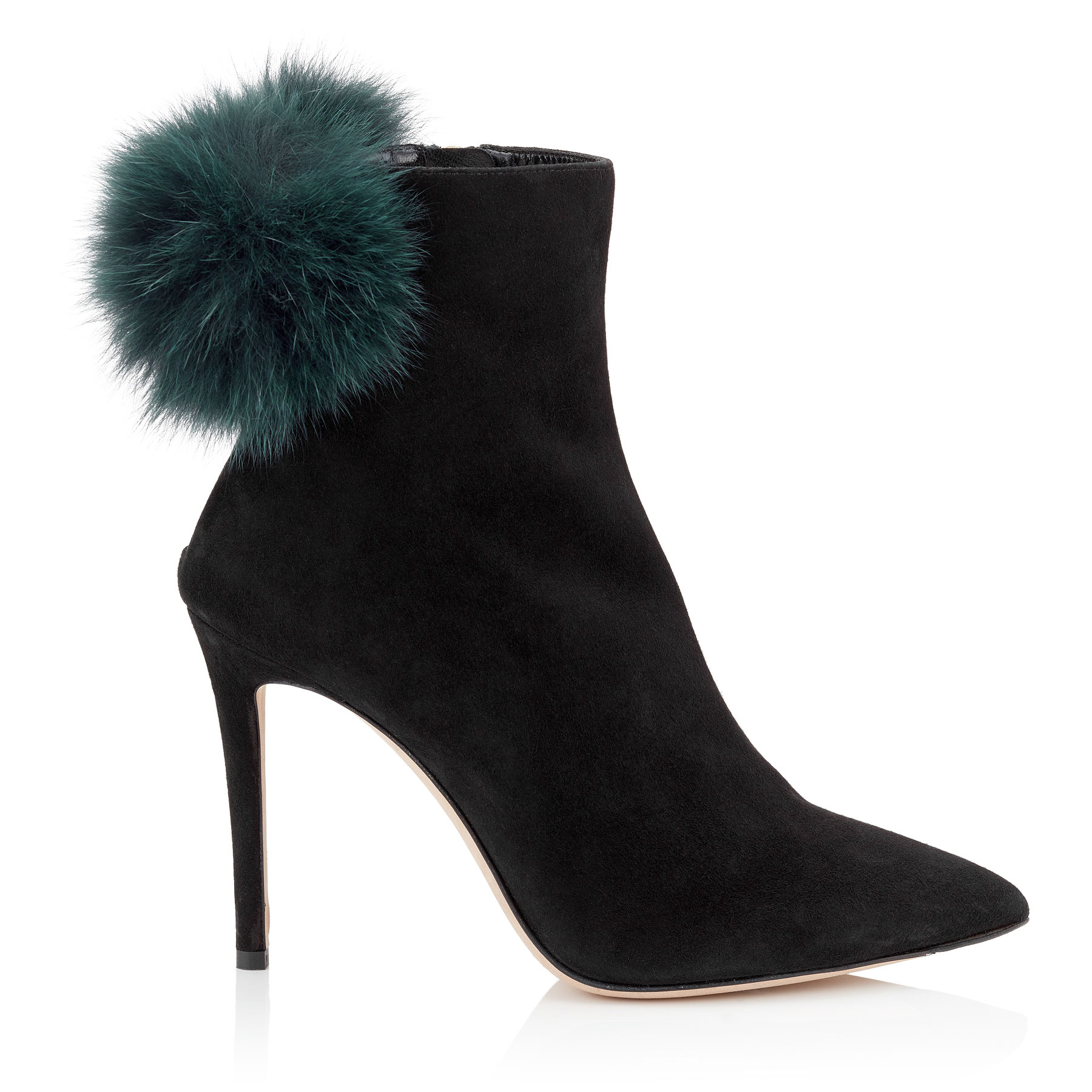 TESLER 100 Black Suede Booties with Bottle Green Fox Fur Pom Poms by Jimmy Choo