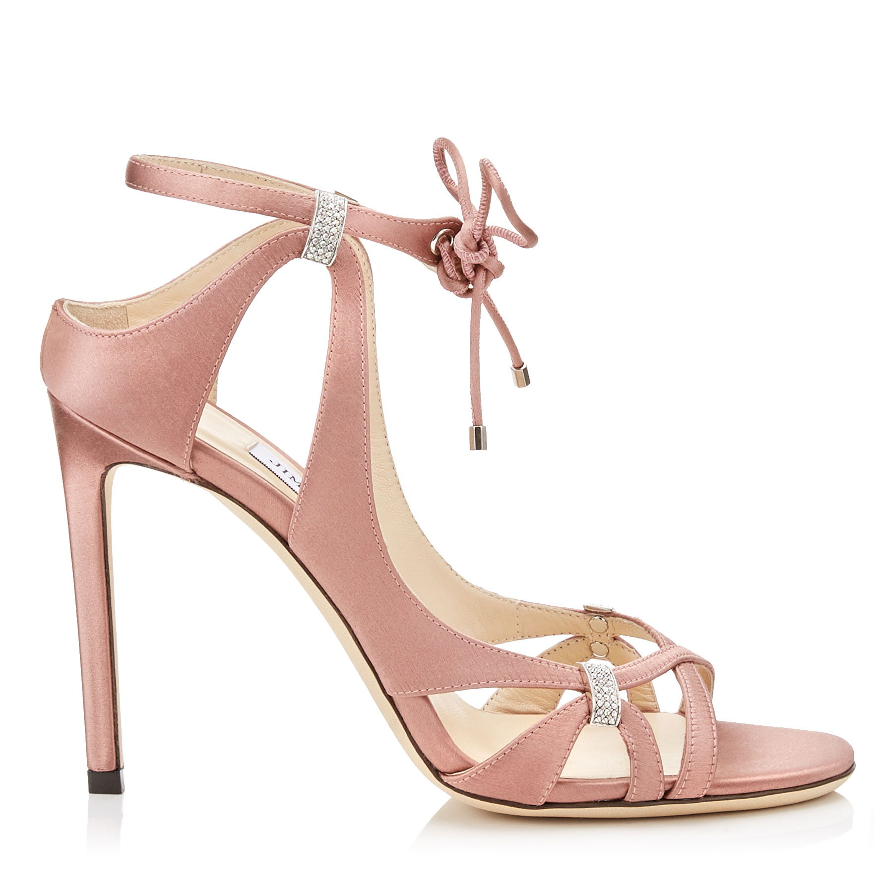 THASSIA 100 Dark Pink Satin Sandals with Swarovski Crystal Detailing by Jimmy Choo