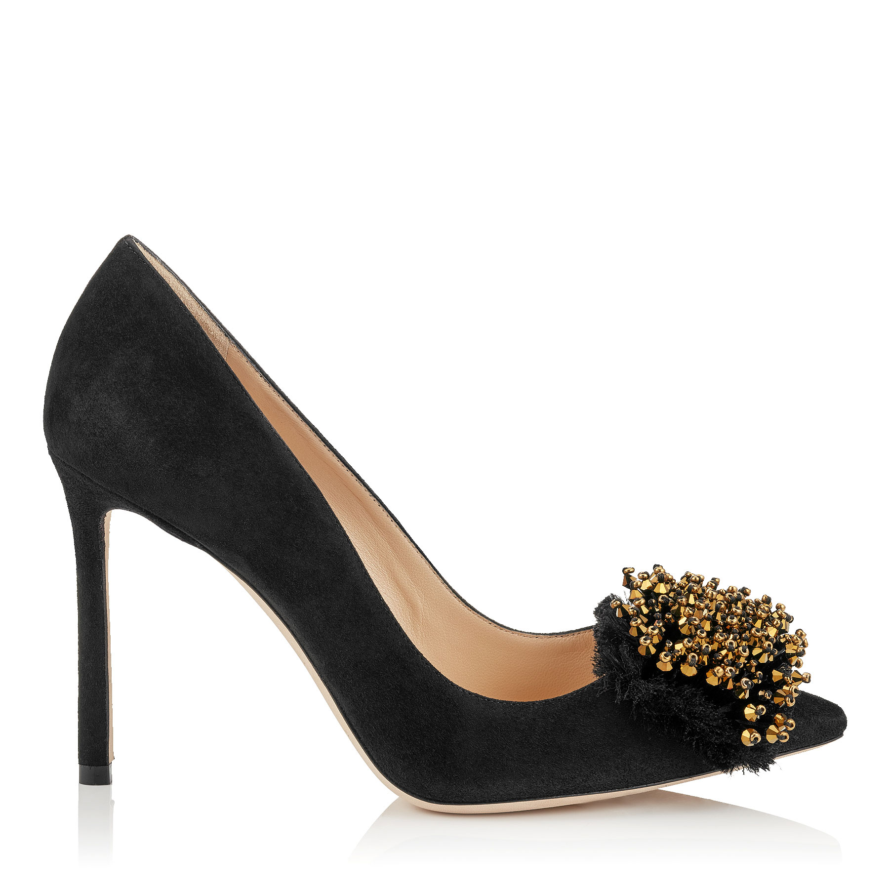 Photo of THELMA 100 Black Suede Heels with Antique Gold Crystal Embroidery by Jimmy Choo womens shoes - buy Jimmy Choo footwear online
