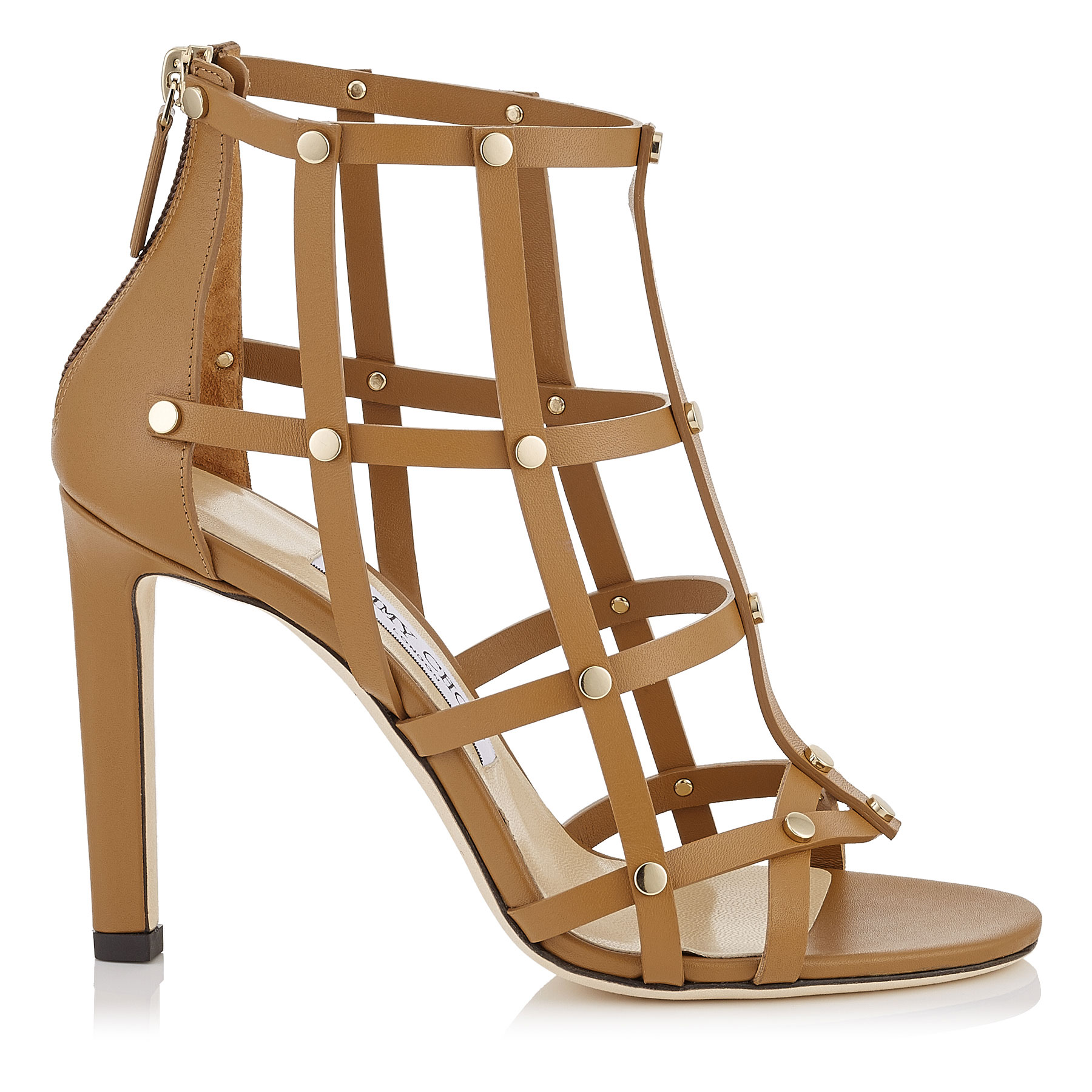 TINA 100 Cuoio Calf Leather Sandals with Light Gold Studs by Jimmy Choo
