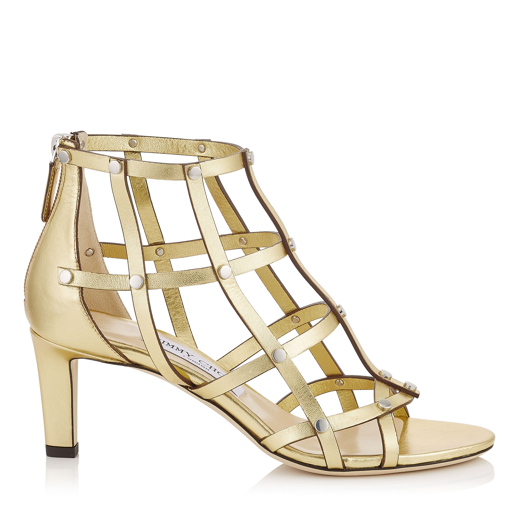 TINA 65 Roman Gold Metallic Nappa Sandals with Silver Studs by Jimmy Choo