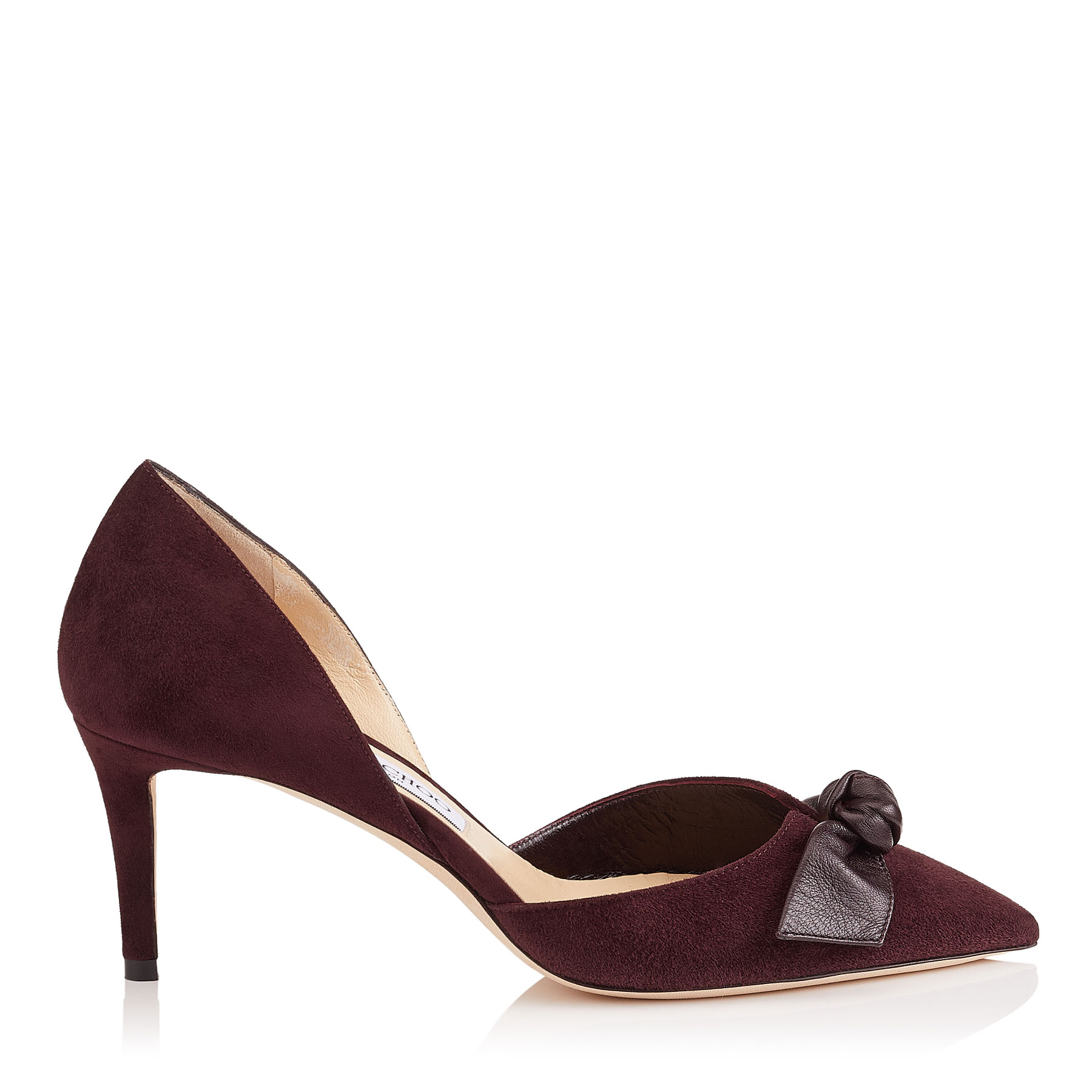 TWINKLE 65 Burgundy Suede and Kid Leather Pointy Toe Pumps by Jimmy Choo