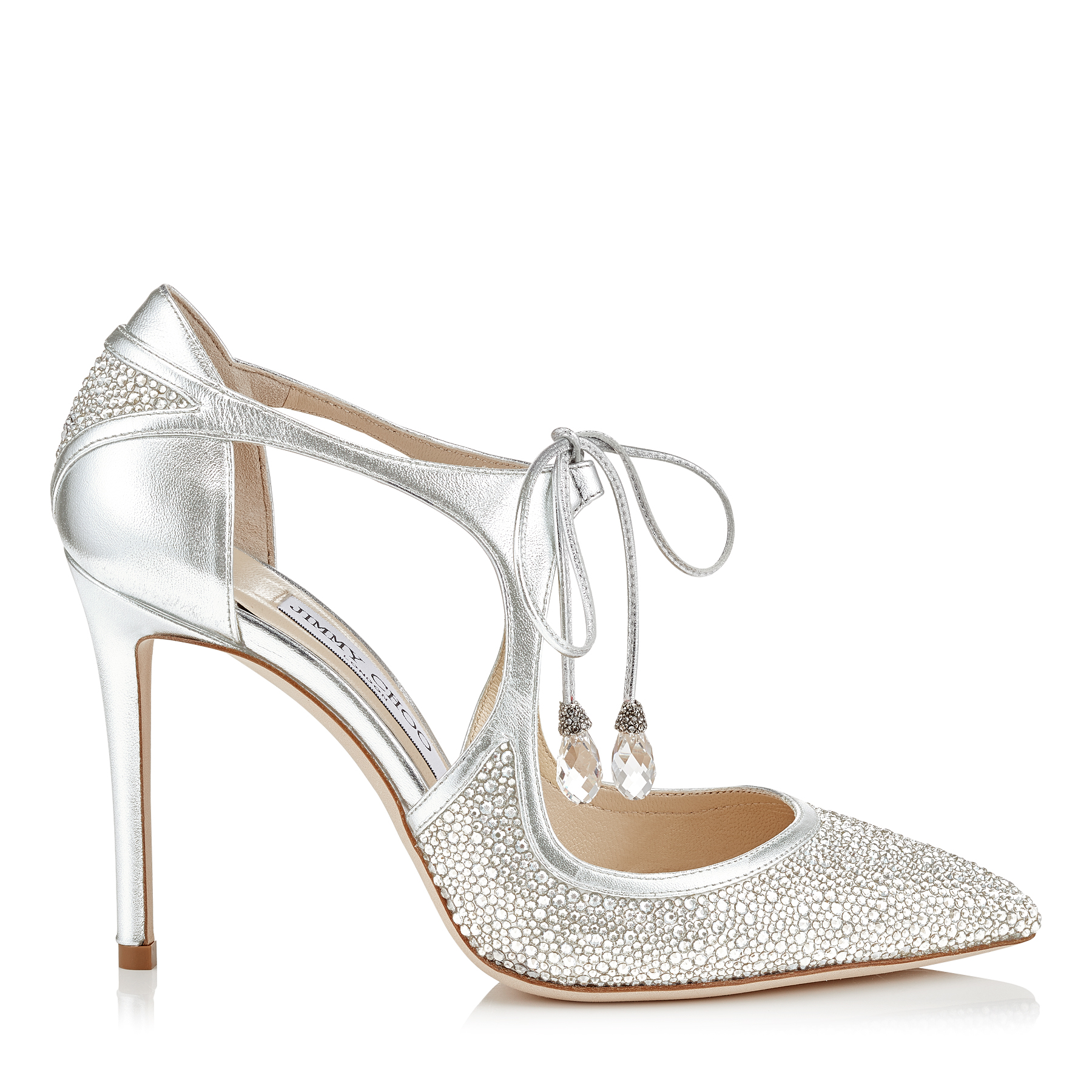 VANESSA 100 Silver Metallic Nappa Leather and Crystal Pointy Toe Pumps by Jimmy Choo