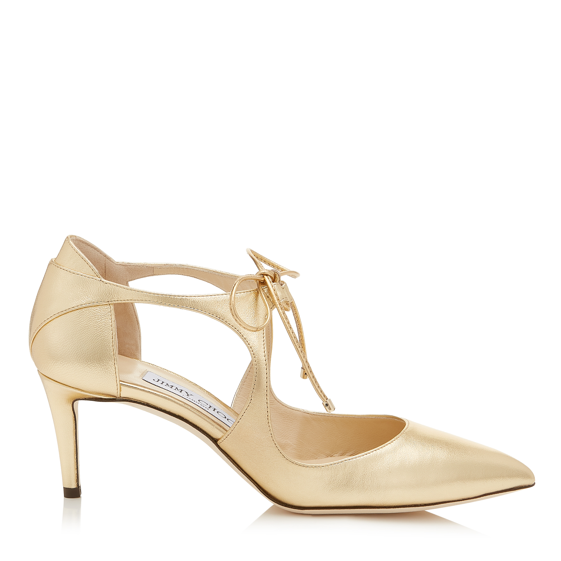 VANESSA 65 Shiny Gold Metallic Leather Pointy Toe Pumps by Jimmy Choo