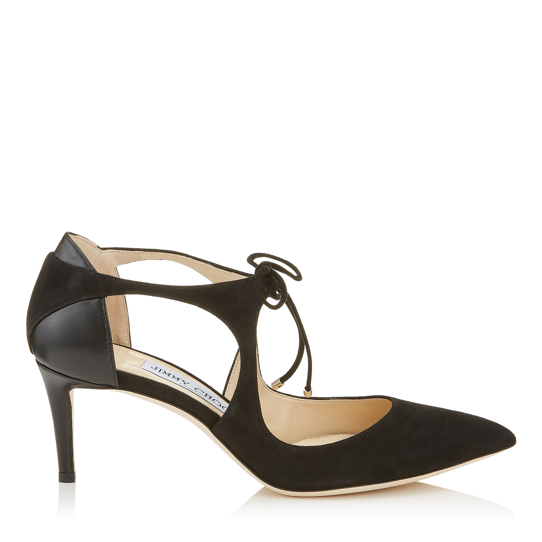 VANESSA 65 Black Suede and Nappa Leather Pointy Toe Pumps by Jimmy Choo