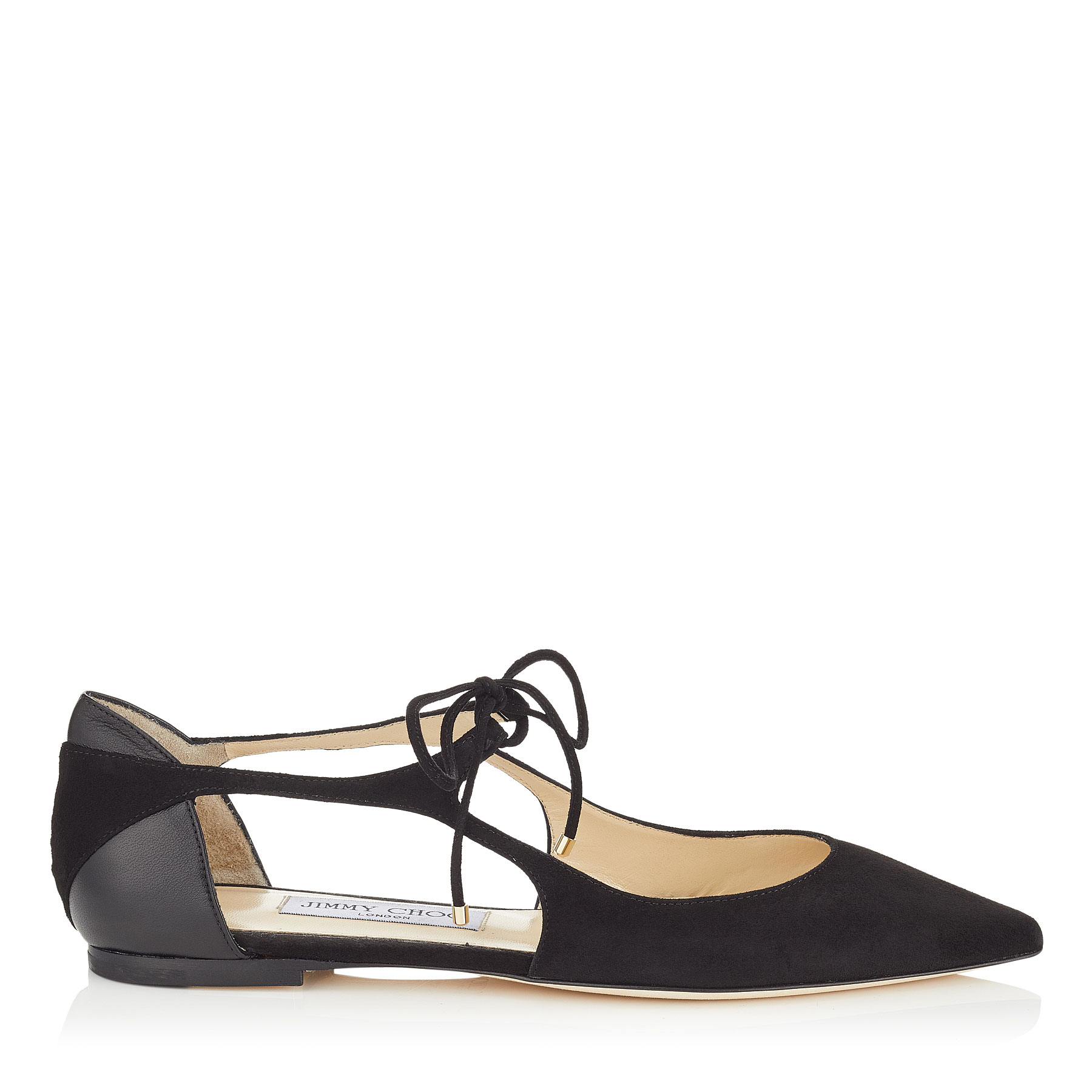 VANESSA FLAT Black Suede and Nappa Leather Pointy Toe Flats by Jimmy Choo