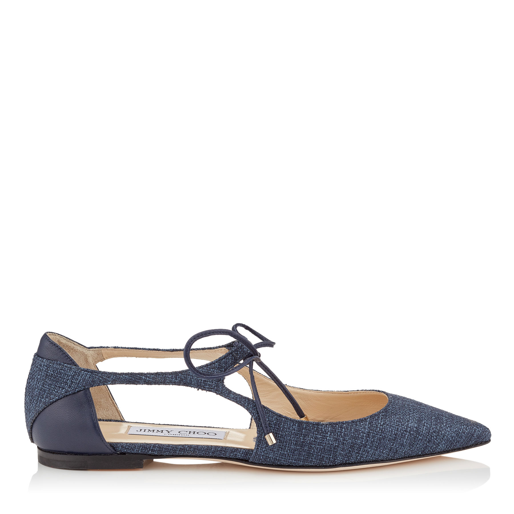 VANESSA FLAT Navy Tweedy Canvas and Nappa Leather Pointy Toe Flats by Jimmy Choo