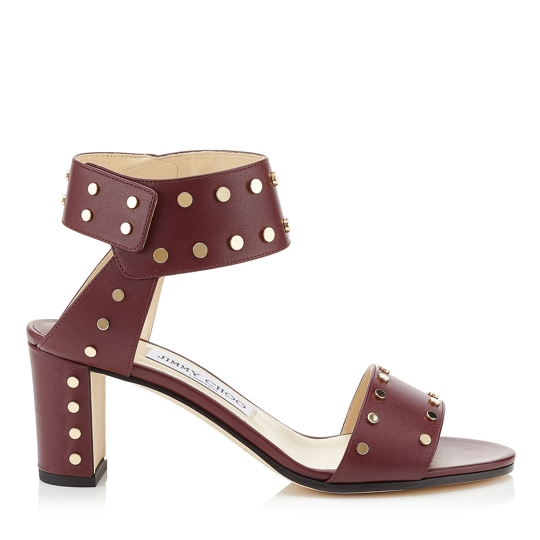 VETO 65 Vino Calf Leather Sandals with Gold Studs by Jimmy Choo