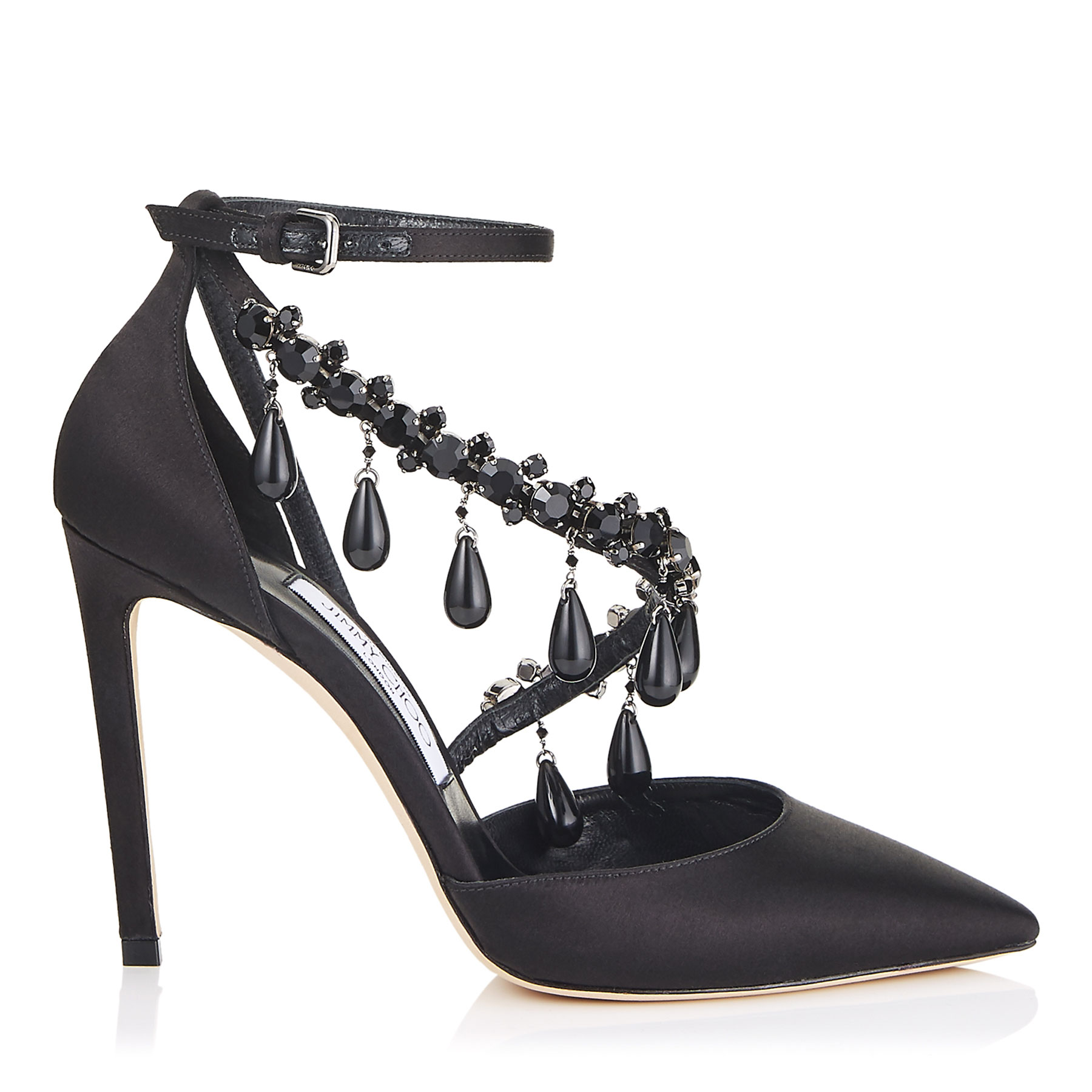 VICTORIA 100 Black Satin Pointy Toe Pumps with Jet Black Swarovski Crystals by Jimmy Choo