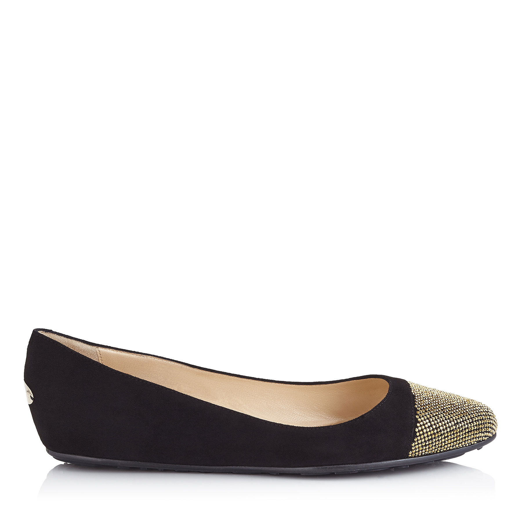 WAINE Black Suede and Metal Micro studs Ballet Flats by Jimmy Choo
