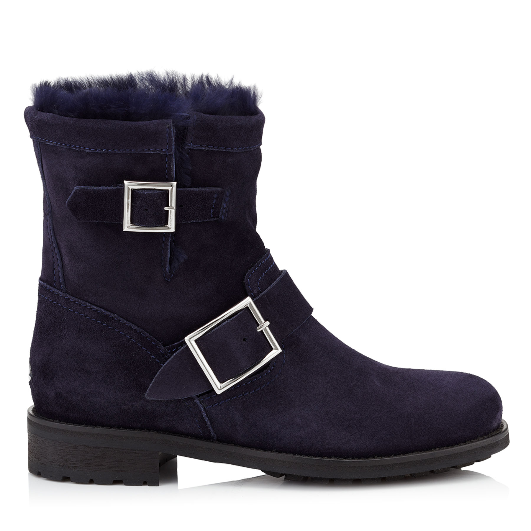 YOUTH Navy Suede Biker Boots with Rabbit Fur Lining by Jimmy Choo